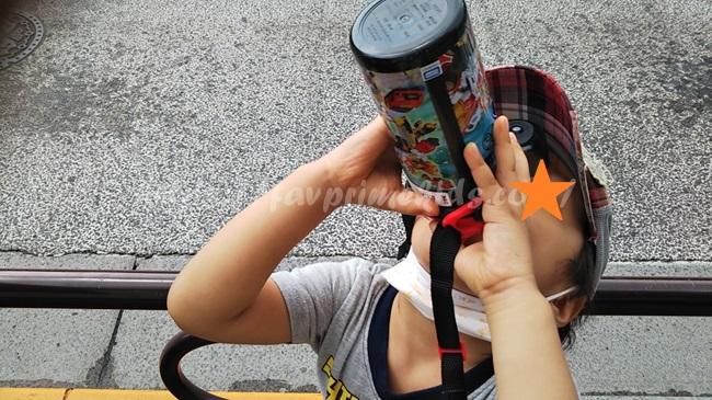 アースグランナーの水筒使用写真