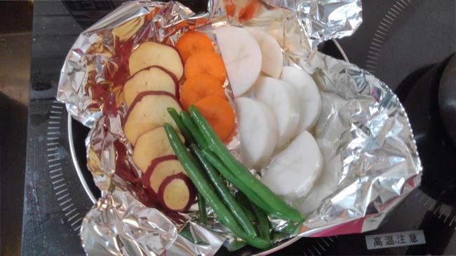 ラク速レシピゆかりさんの『蒸し器いらず!フライパン温野菜』を作ってみた (2)
